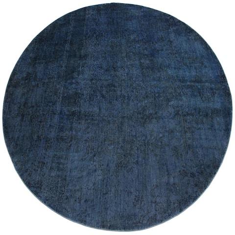 "Vintage Distressed Felipe Blue/Black Round Rug -8'2 x 8'2 - 8'2"" x 8'2"""