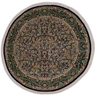"Imran Pak-Persian Florida Black/Gray Round Rug -8'2 x 8'2 - 8'2"" x 8'2"""