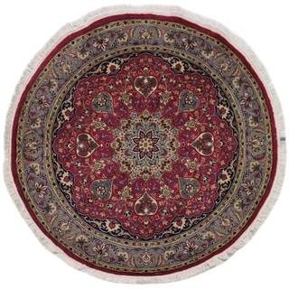 "Kashan Pak-Persian Kathlene Red/Gray Round Rug -6'1 x 6'2 - 6'1"" x 6'2"""