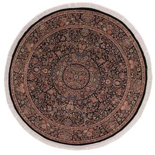 "Kashan Pak-Persian Susannah Black/Rust Round Rug -8'1 x 8'3 - 8'1"" x 8'3"""