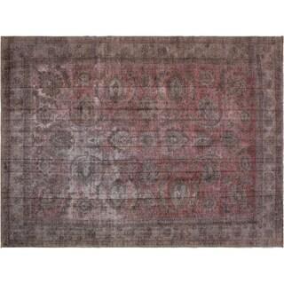 """Vintage Distressed Nadia Gray/Red Wool Rug -9'7 x 13'7 - 9'7"""" x 13'7"""""""