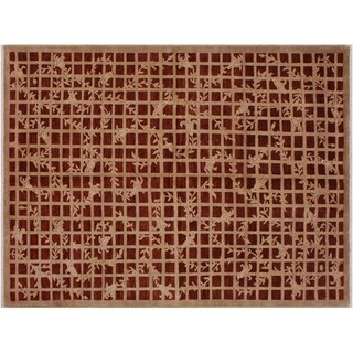 "Modern Ziegler Lane Red/Red Wool Rug -6'1 x 9'2 - 6'1"" x 9'2"""