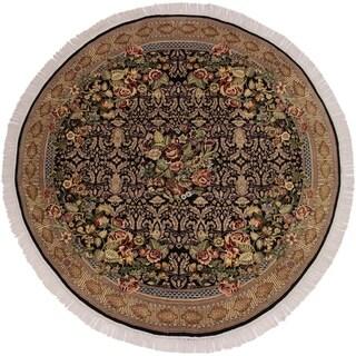"Pak-Persian Ruby Black/Gold Round Rug -6'8 x 6'10 - 6'8"" x 6'10"""
