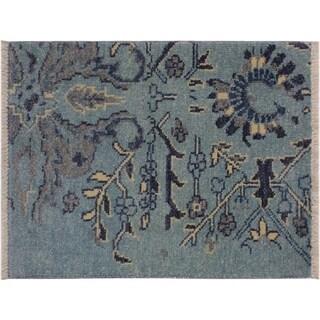 "Modern Abstract Adina Lt. Blue/Lt. Blue Wool Rug -1'11 x 2'10 - 1'11"" x 2'10"""
