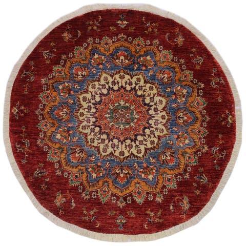 "KhurgeenRickey Blue/Red Wool Round -5'6 x 5'7 - 5'6"" x 5'7"""