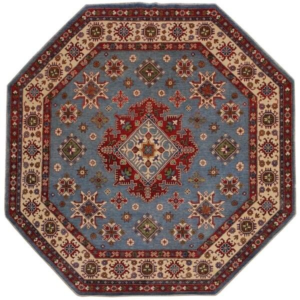 "Kazak Ariel Blue/Ivory Wool Round -7'9 x 7'10 - 7'9"" x 7'10"""