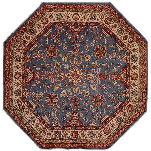 "Kazak Abdul Blue/Ivory Wool Round -7'8 x 7'9 - 7'8"" x 7'9"""