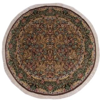 """Imran Pak-Persian Nicolett Brown/Green Round Rug -7'11 x 8'0 - 7'11"""" x 8'0"""""""