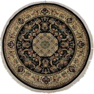 "Anarkali Pak-Persian Avril Black/Ivory Round Rug -8'2 x 8'2 - 8'2"" x 8'2"""