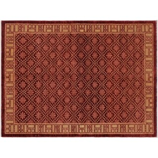 "Modern Ziegler Myung Red/Tan Wool Rug -5'11 x 8'6 - 5'11"" x 8'6"""