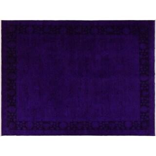 "Overdyed Color Reform Skelton Blue/Purple Wool Rug -7'10 x 9'8 - 7'10"" x 9'8"""