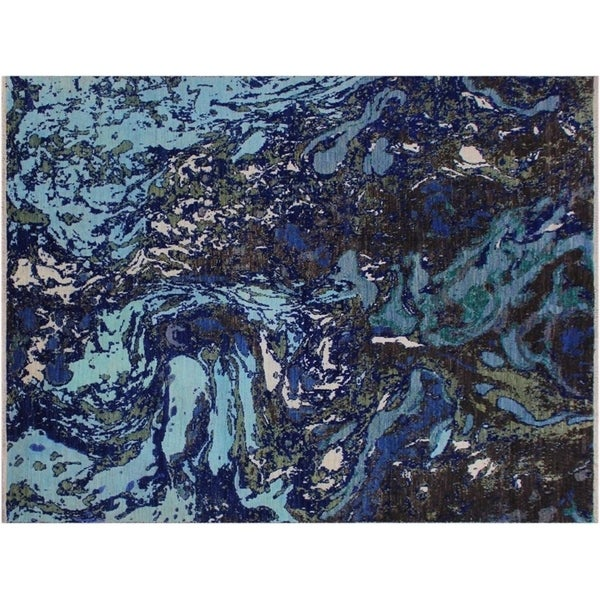 Modern Abstract Slater Blue/Ivory Wool Rug - 8'2 x 10'
