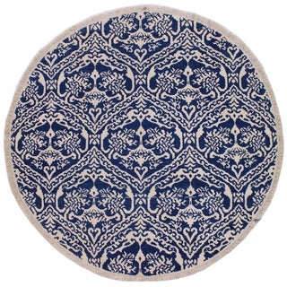 "Modern Abstract Bailey Blue/Ivory Wool & Silk Round -5'10 x 6'0 - 5'10"" x 6'0"""