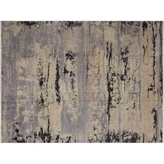 Sloan Grey and Black Wool Abstract Modern Rug -11'10 x 15'5