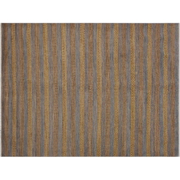 Moroccan Grey/Gold Wool High-low Pile Small Rug -6'5 x 9'11