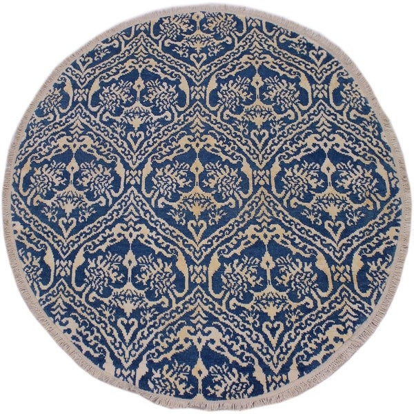 "Modern Abstract Robbyn Blue/Ivory Wool & Silk Round -6'0 x 6'1 - 6'0"" x 6'1"""