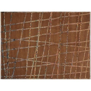 Skidmore Brown/Ivory Wool Moroccan High/Low Pile Rug - 7'10 x 10'2