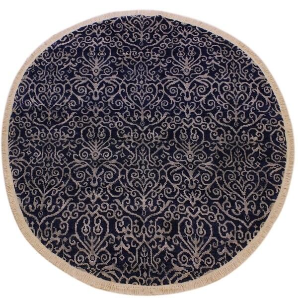 "Modern Abstract Caroline Blue/Lt. Gray Wool & Silk Round -6'1 x 6'1 - 6'1"" x 6'1"""