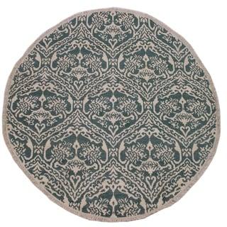 "Modern Abstract Ileana Green/Ivory Wool & Silk Round -6'1 x 6'1 - 6'1"" x 6'1"""