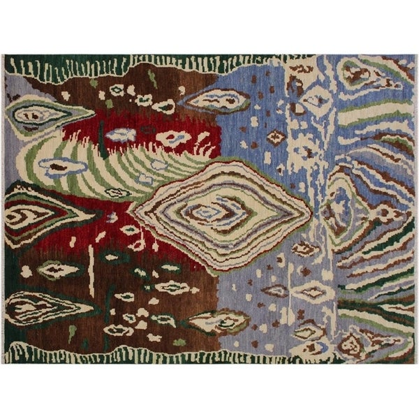 Modern Abstract Slaughte Grey/Red Wool Rug - 8'10 x 12'