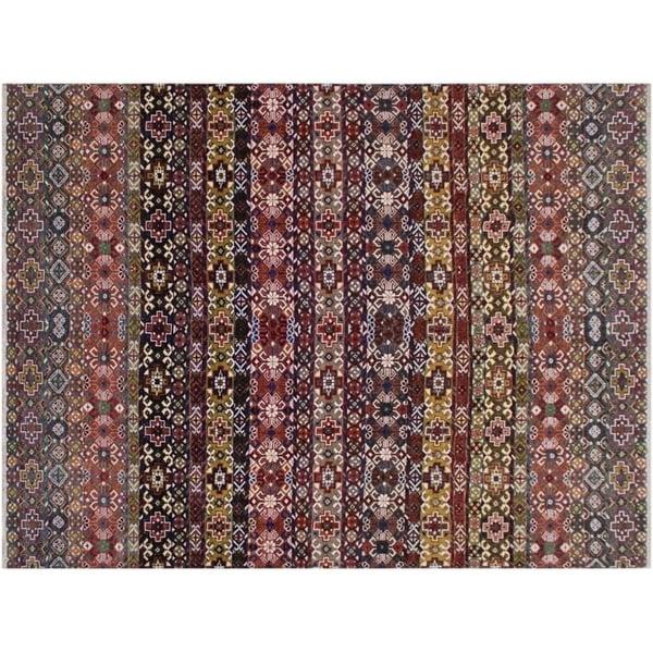 Khurgeen Slaton Pink/Purple Wool and Silk Rug - 8'10 x 12'