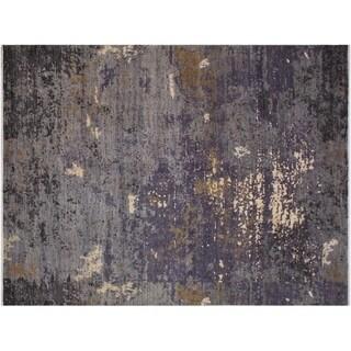 Slade Grey/Ivory Wool and Silk Modern Abstract Rug - 8'10 x 12'1