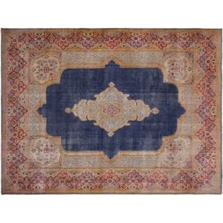 Blue/Pink Wool Vintage Distressed Song Rug - 9'10 x 13'9