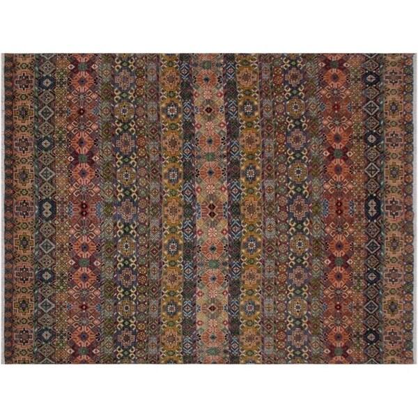 Khurgeen Slattery Blue/Pink Wool Rug - 7'10 x 10'1