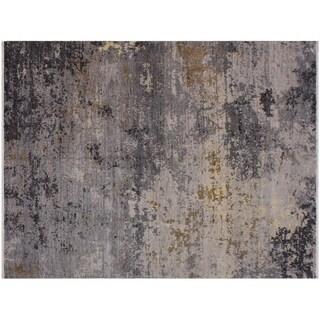 Slone Modern Abstract Grey/Brown Wool Rug - 7'9 x 10'2