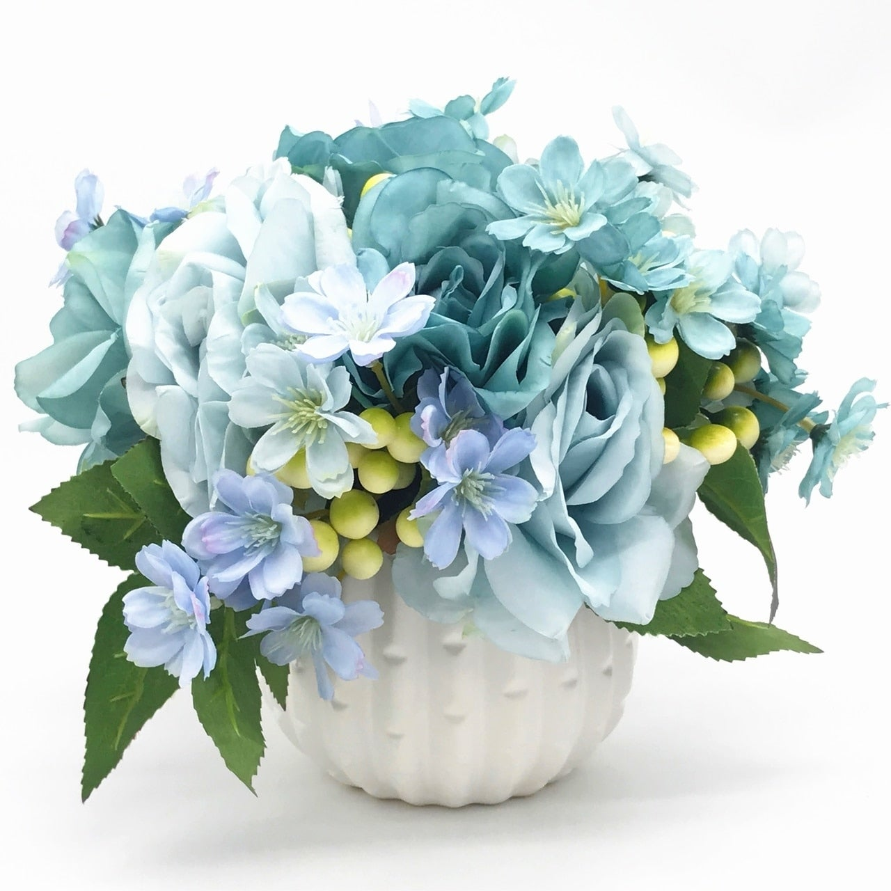 Enova Home Blue Open Rose And Mixed Silk Flower Arrangement With White Ceramic Vase Overstock 27869273
