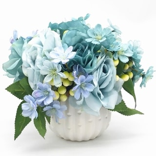 Enova Home Blue Open Rose and Mixed Silk Flower Arrangement With White Ceramic Vase