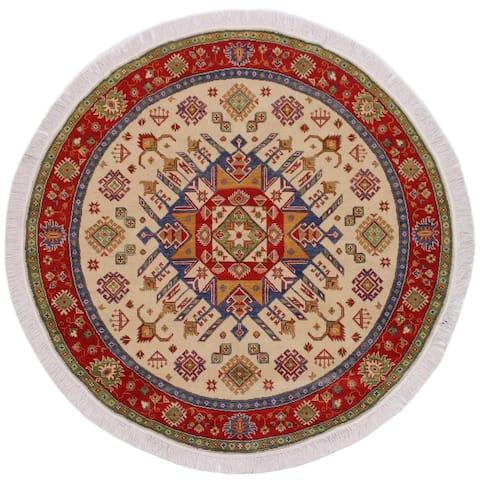 """Shabby Chic Kazak Snider Ivory/Red Wool Round -6'5 x 6'6 - 6'5"""" x 6'6"""""""