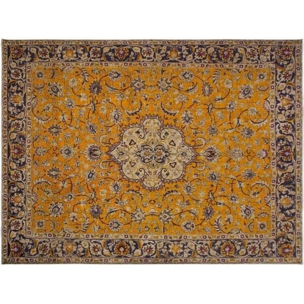 "Vintage Distressed Solano Orange/Blue Wool Rug -9'11 x 12'6 - 9'11"" x 12'6"""