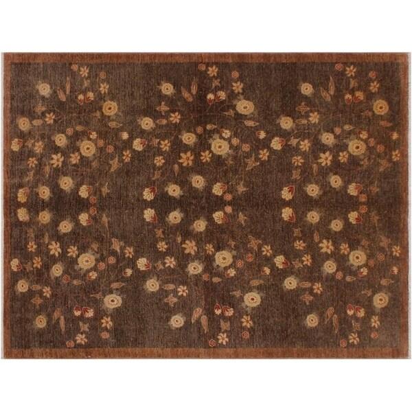 "Modern Ziegler Tianna Dark Brown/Brown Wool Rug -6'3 x 8'9 - 6'3"" x 8'9"""