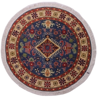 "Kazak Smoot Blue/Ivory Wool Round -4'10 x 4'10 - 4'10"" x 4'10"""