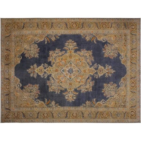 """Vintage Distressed Sommers Grey/Blue Wool Rug -9'10 x 12'11 - 9'10"""" x 12'11"""""""