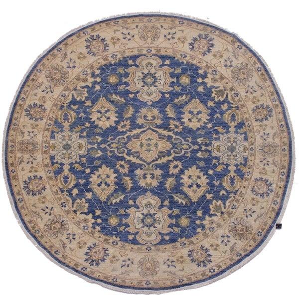 """Ziegler Kafkaz Spalding Blue/Ivory Round Rug -6'7 x 6'8 - 6'7"""" x 6'8"""""""