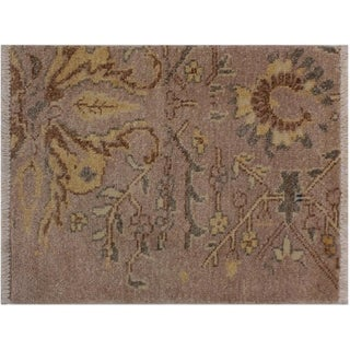 """Modern Abstract Adrienne Gold/Gold Wool Rug -2'0 x 2'10 - 2'0"""" x 2'10"""""""