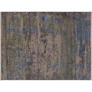 "Modern Abstract Sisco Grey/Blue Wool Rug -7'7 x 7'9 - 7'7"" x 7'9"""