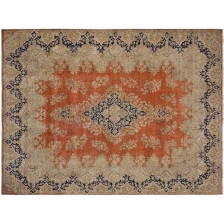 "Vintage Distressed Sorenson Orange/Blue Wool Rug -9'8 x 12'11 - 9'8"" x 12'11"""