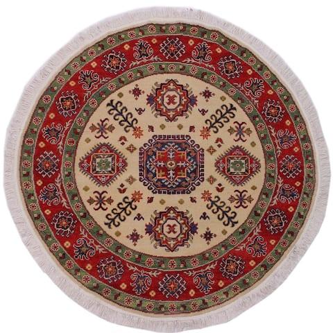 """Shabby Chic Kazak Smyth Ivory/Red Wool Round -4'9 x 4'11 - 4'9"""" x 4'11"""""""
