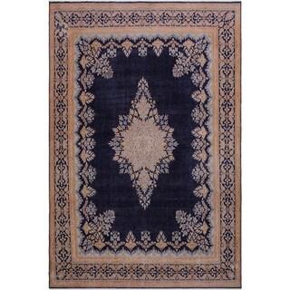 """Vintage Distressed Soria Drk. Blue/Brown Wool Rug -9'10 x 12'8 - 9'10"""" x 12'8"""""""