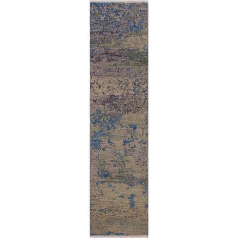 """Modern Abstract Simmons Green/Blue Wool Runner -1'10 x 6'2 - 1'10"""" x 6'2"""""""