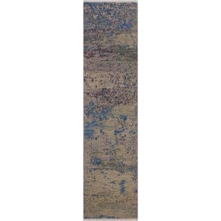 "Modern Abstract Simmons Green/Blue Wool Runner -1'10 x 6'2 - 1'10"" x 6'2"""