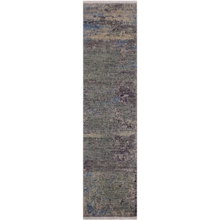 "Modern Abstract Simpson Green/Blue Wool Runner -2'0 x 6'1 - 2'0"" x 6'1"""