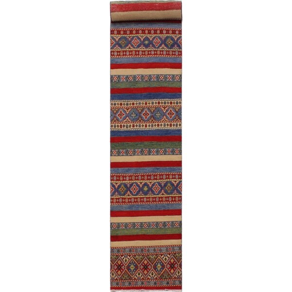 "Khurgeen Snow Red/Ivory Wool Runner -2'9 x 10'1 - 2'9"" x 10'1"""