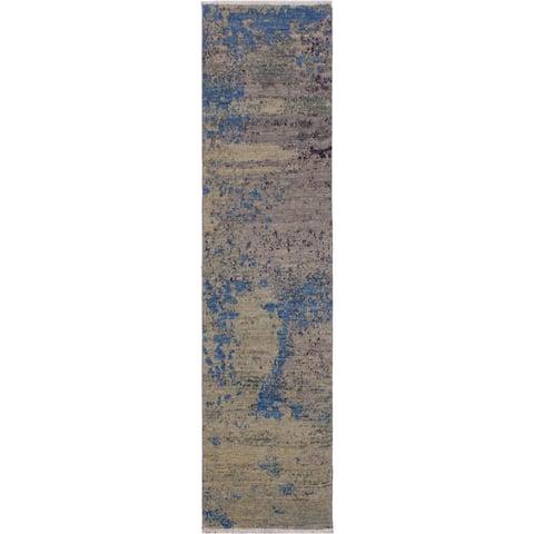 """Modern Abstract Silvia Green/Blue Wool Runner -2'0 x 6'2 - 2'0"""" x 6'2"""""""