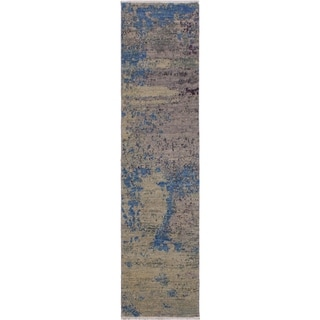 "Modern Abstract Silvia Green/Blue Wool Runner -2'0 x 6'2 - 2'0"" x 6'2"""
