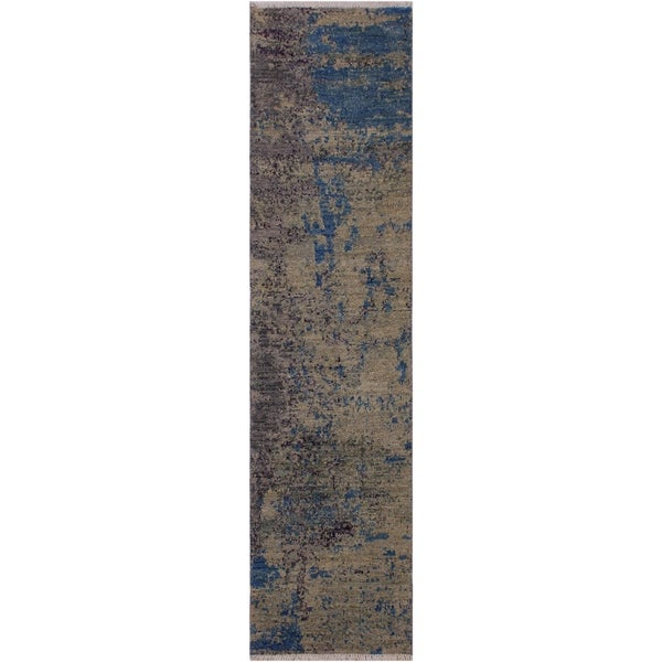 "Modern Abstract Simms Green/Blue Wool Runner -2'0 x 6'2 - 2'0"" x 6'2"""