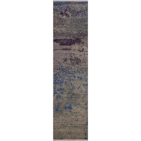 """Modern Abstract Sinclair Green/Blue Wool Runner -1'11 x 6'2 - 1'11"""" x 6'2"""""""